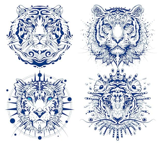 Définir la tête de visage abstrait de tigre imprimer le calendrier chinois de symbole de l'année 2022