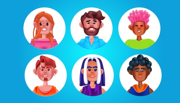 Définir des têtes de personnes de sexe masculin dans des cadres ronds mignons hommes femmes avatars collection personnages de dessins animés portraits illustration vectorielle horizontale