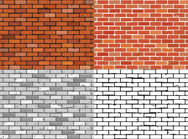 Définir des textures de mur de brique grunge sans soudure.