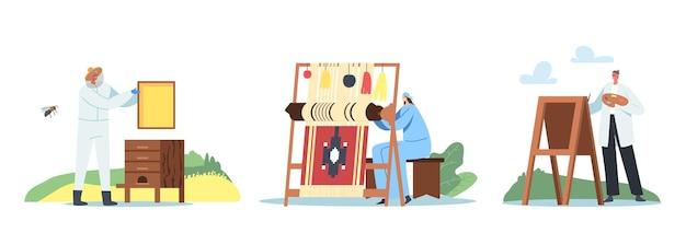 Définir le thème des loisirs artistiques créatifs. personnages masculins et féminins, peinture, extrait de miel et production de rucher, tissage de tapis sur métier à tisser isolé sur fond blanc. illustration vectorielle de gens de dessin animé