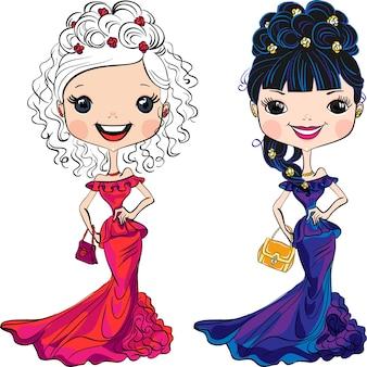 Définir le top modèle de belles filles de mode avec des embrayages en robes de soirée