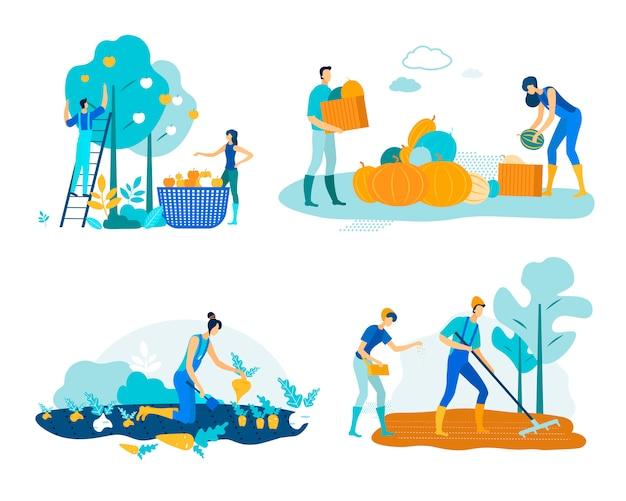 Définir le travail agricole récolte vector illustration.