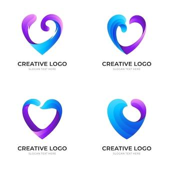 Définir la vague d'amour, l'amour et la vague, le logo de combinaison avec le style de couleur bleu et violet