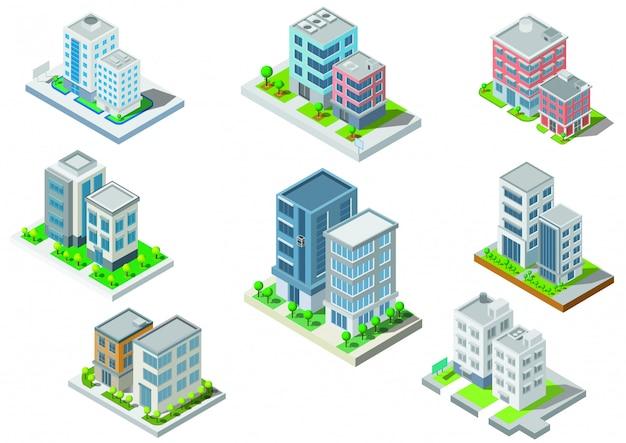 Définir le vecteur de bâtiment isométrique. ils sont sur la cour, rivière avec route. bâtiment 3d, ville intelligente