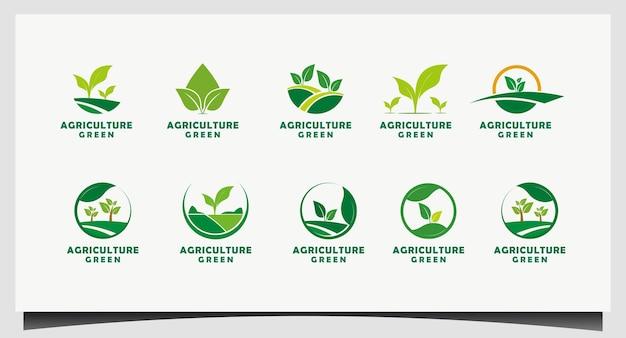 Définir le vecteur de conception de logo agriculture moderne simple