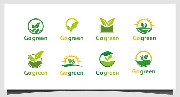 Définir le vecteur de conception de logo go vert