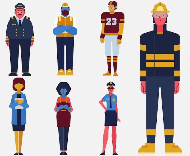 Définir le vecteur plat collection travailleur profession