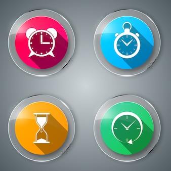 Définir le verre icône plate de quatre couleurs.