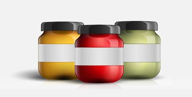 Définir le verre de pot de confiture isolé sur fond blanc.