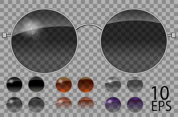 Définir des verres.teashades forme ronde.transparent de couleur différente noir brun violet.sunglasses.3d graphics.unisex femmes hommes.