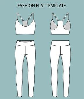 Définir les vêtements de sport vue avant et arrière