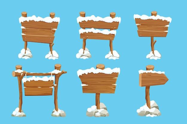 Définir le vieux panneau vierge en bois avec de la neige en style cartoon