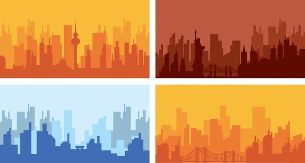 Définir la ville de la silhouette avec la ville de paysage