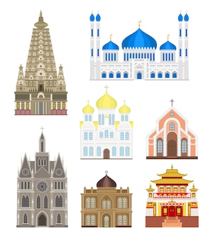 Définir des villes dans le milieu bâtiments célèbres voyagent vecteur historique de l'architecture.
