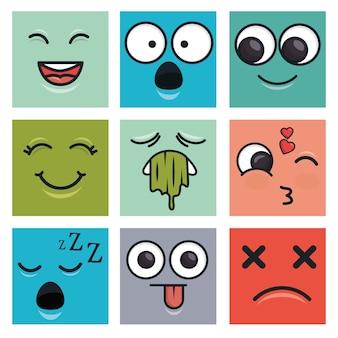 Définir les visages d'émoticônes vector illustration ilustration eps 10