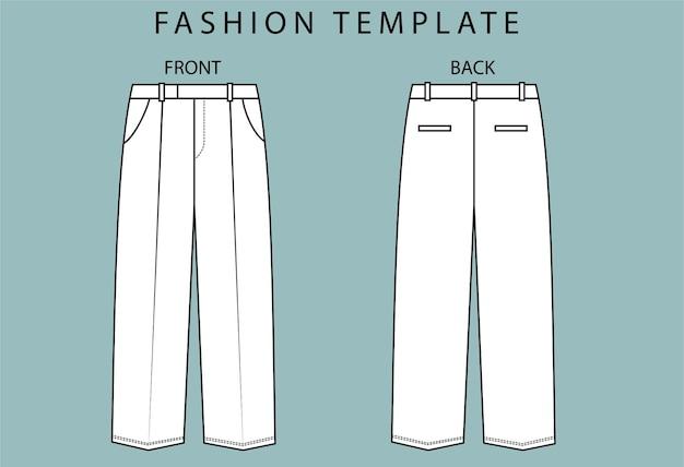 Définir la vue avant et arrière du pantalon. modèle de croquis plat mode pantalon.