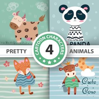 Définissez des animaux de dessin animé - illustration drôle.