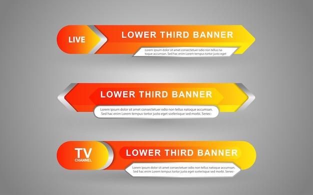 Définissez des bannières et des tiers inférieurs pour la chaîne d'informations avec une couleur orange et blanche