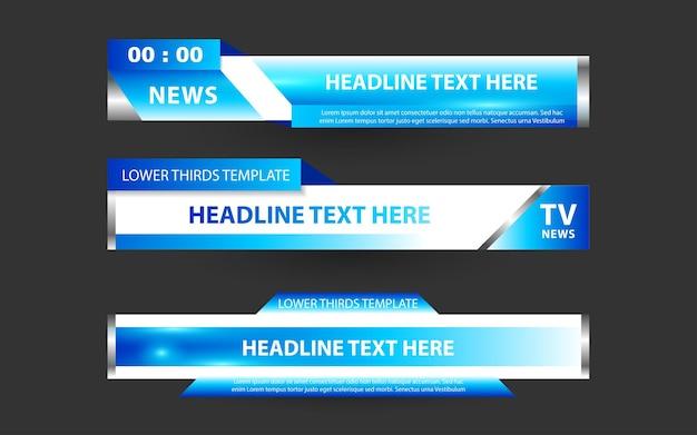 Définissez des bannières et des tiers inférieurs pour la chaîne d'informations avec des couleurs blanche et bleue