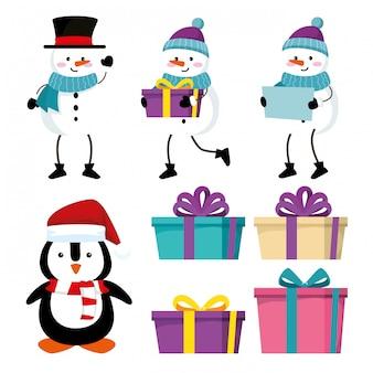 Définissez des bonhommes de neige avec un pingouin et des cadeaux pour un événement de noël