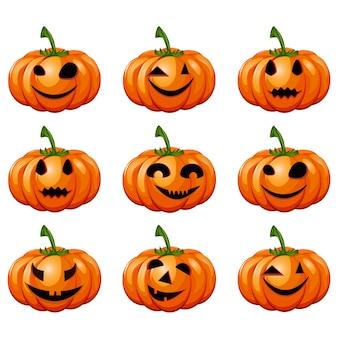 Définissez des citrouilles pour halloween.