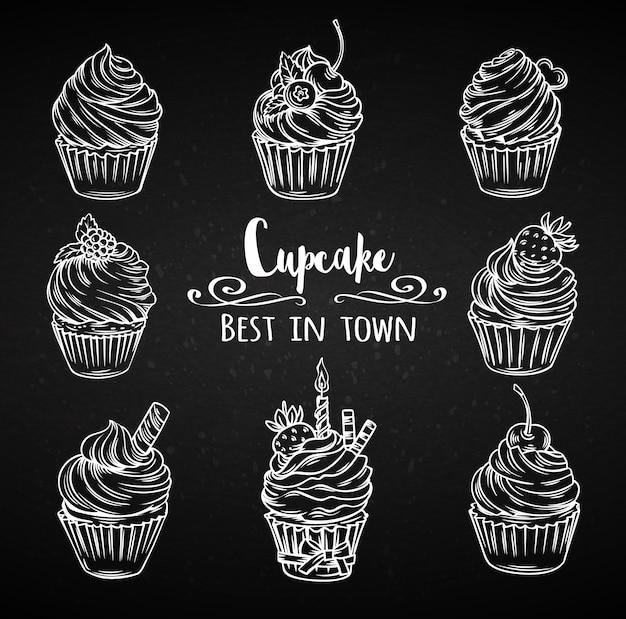 Définissez des cupcakes décoratifs dessinés à la main.