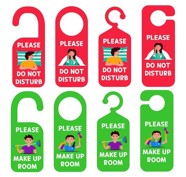 Définissez des étiquettes de suspension pour ne pas déranger, vous devez nettoyer la pièce. conception de porte de suspension
