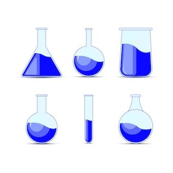 Définissez des flacons chimiques, des bouteilles, des potions pour halloween et la chimie.