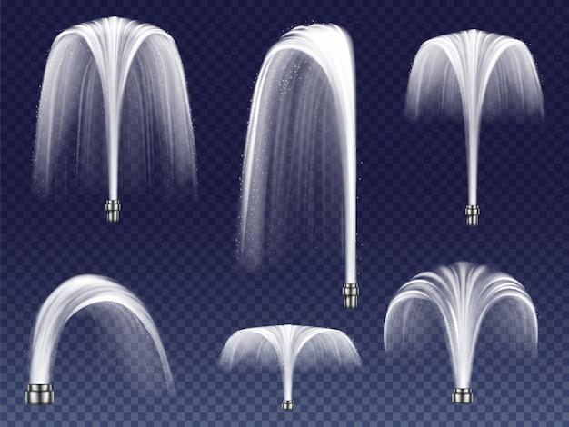 Définissez des fontaines réalistes de différentes formes. grands et petits geysers, jets d'eau en chute