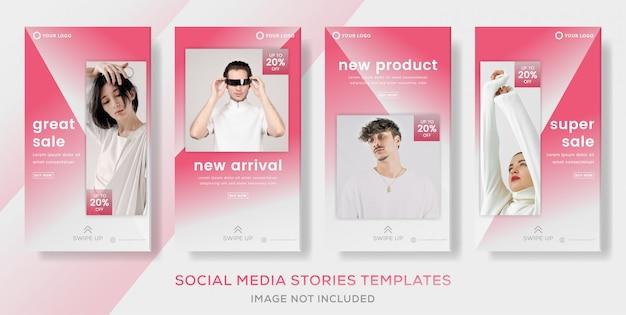 Définissez des histoires après la vente de mode avec une couleur rose.