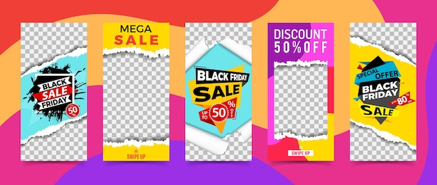 Définissez des histoires de réseaux sociaux. cadres photo transparents avec texture de papier déchiré. vente bannière modèle vendredi noir. promotion de la marque de la boutique.