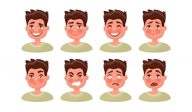 Définissez un homme avec une variété d'émotions.
