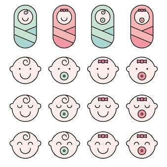 Définissez les icônes simples de visage de bébé.