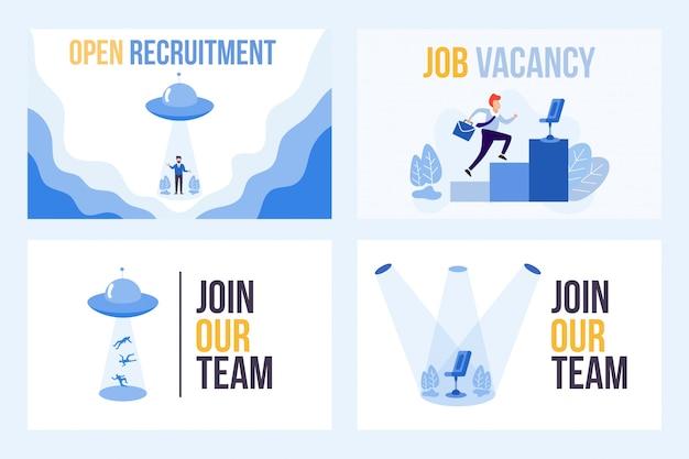 Définissez l'illustration de la vacance de poste avec le mot embauche. ufo attire les gens