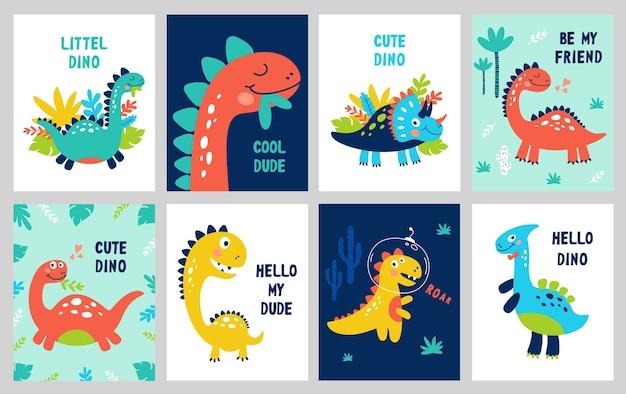Définissez un imprimé bébé avec dino. peut être utilisé pour une affiche, une carte, une bannière, un dépliant. dessiné à la main.