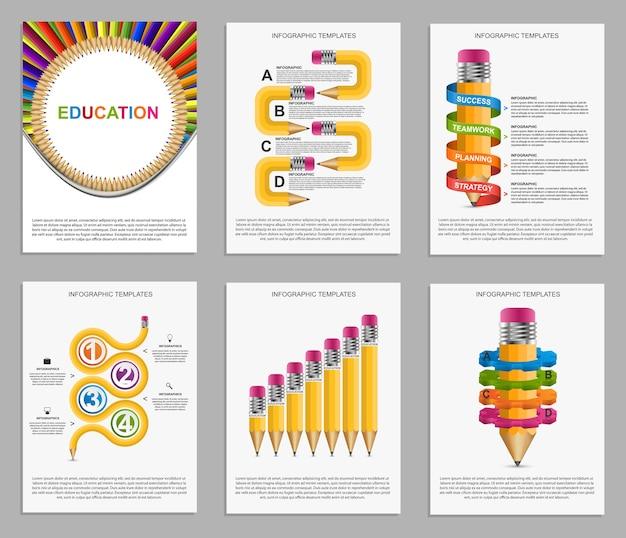 Définissez les infographies pour les brochures et les présentations sur l'éducation.