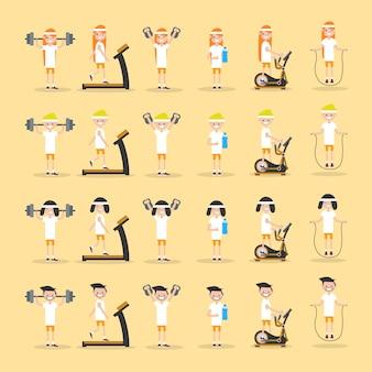 Définissez les jeunes personnages faisant de l'exercice.
