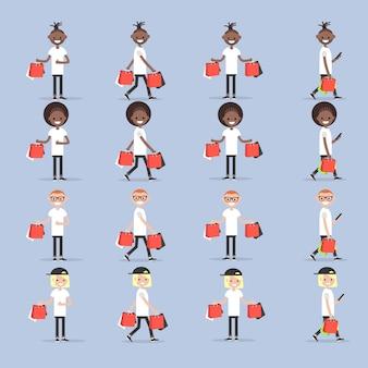 Définissez les jeunes personnages avec des sacs de magasin.