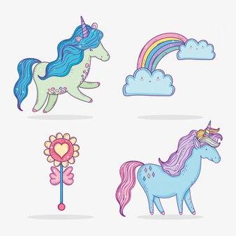 Définissez des licornes mignonnes avec arc-en-ciel et nuages