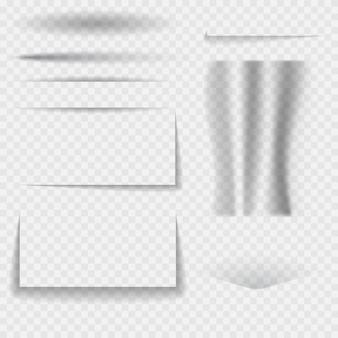 Définissez une ligne réaliste d'ovale et d'angles d'ombres sur un fond transparent.