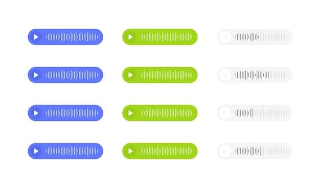 Définissez des messages vocaux avec une onde sonore. bulle de message pour les médias sociaux.