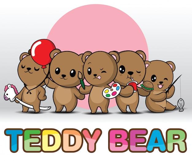 Définissez mignon ours en peluche.