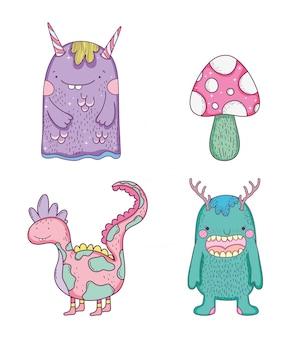 Définissez des monstres avec des créatures dragons et des champignons