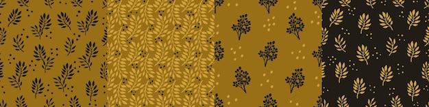 Définissez des motifs harmonieux à la mode avec des fleurs décoratives dessinées à la main dans des tons or ocre et noirs