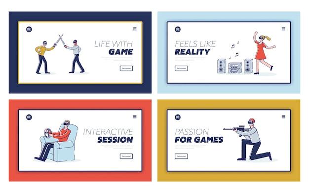 Définissez des pages de destination avec des dessins animés de joueurs vr. technologie de réalité virtuelle et de simulation pour le concept de jeu