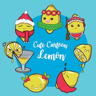 Définissez le personnage de dessin animé mignon de citron.