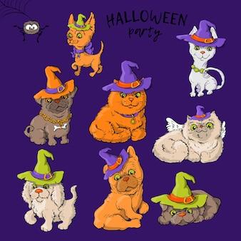 Définissez des personnages de dessins animés dans le style d'halloween.