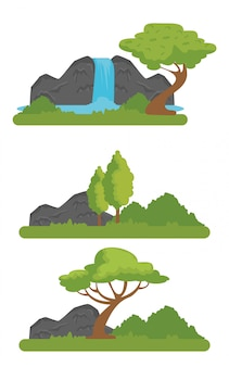 Définissez la réserve naturelle de faune avec rivière et montagnes