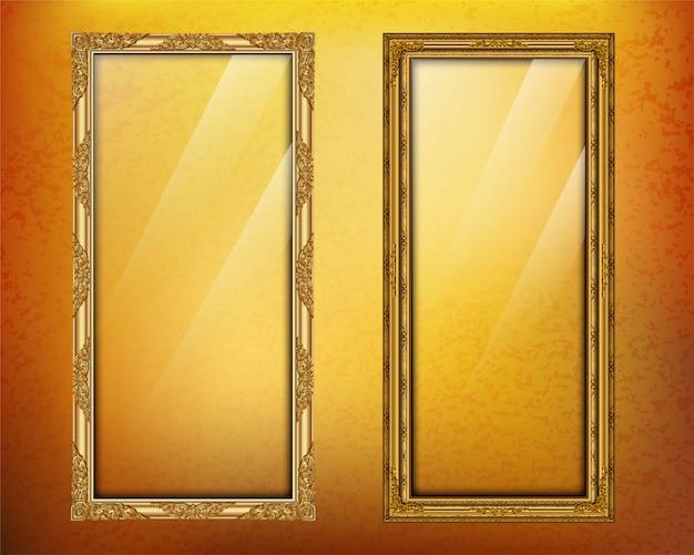 Définissez royal du cadre photo modèle doré
