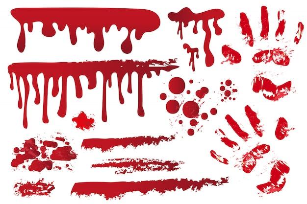 Définissez des séquences sanglantes réalistes. empreinte de main dans le sang. éclaboussures rouges, aérosols, taches. gouttes, gouttes de taches de sang sur fond blanc. concept d'halloween. illustration.